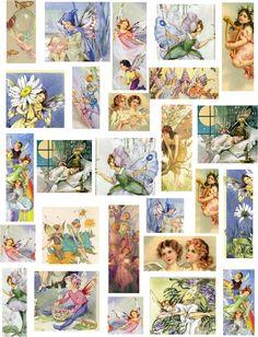 decoupage paper collage sheets Fairies, flowers, butterflies, harps,
