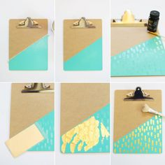 DIY Gold Leaf Brushed Clipboards | Lovely Indeed