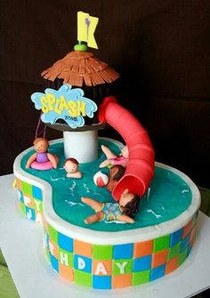 Swimming cake with water slide. Really fantastic 3D style cake.