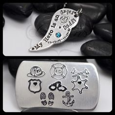 Hand Stamped Personalized My Hero Is An Angel by MyHeroCreations