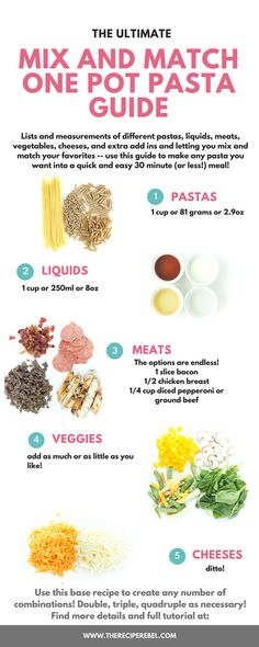 The Ultimate Mix and Match One Pot Pasta Guide! Lists and measurements of different ingredients so you can make your own easy 30 minute meals!