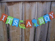 Dinosaur It's A Boy Banner Happy Birthday Banner Baby