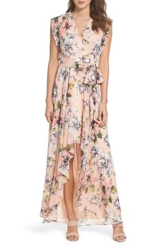 5421c6ac2f03 Eliza J Floral Ruffle High/Low Maxi Dress | Nordstrom