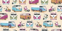 Camper Van from Albany (J05901) - Brewers Wallpapers - Albany - a  fun, quirky design with camper vans and scooters in bright multi colours on a cream background - the perfect retro feel. Please request sample for true colour match.