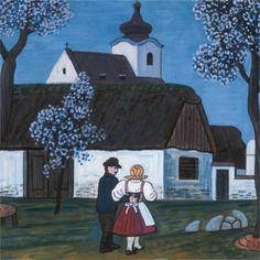 European Countries, Czech Republic, Script, Retro, Country, Frame, Painting, Art, Rural Area