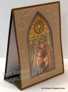 Gentle Peace Without banner Stampin' Up! Embossed vellum, colored, frame over it.