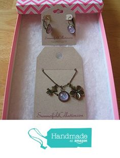 Antiqued Gold-Tone Glitter Glass Bird and Flower Charm Pendant Necklace and Drop Earrings SET Purple from Summerfield Collection http://www.amazon.com/dp/B019M3P6PE/ref=hnd_sw_r_pi_dp_cAEGwb1H5S8T2 #handmadeatamazon