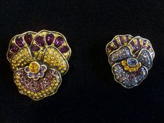 Heidi Daus Set of Two 2 Pansy Crystal Accented Pins New | eBay