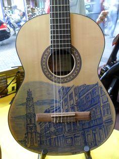 Guitarra pintada à mão com a Torre dos Clérigos Painted Guitars, Guitar Painting, Musical Instruments, Portugal, Musicals, Singing, Blues, Grey, Heart