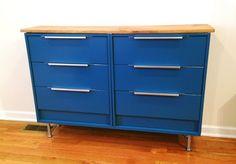 Seeing Double: Rast Hack - IKEA Hackers// RAST dresser $34.99/1, CAPITA Legs  $14/4, BLANKETT handles $9.99/2