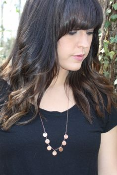 Copper coin necklace Hammered jewelry Layering by daylightderived