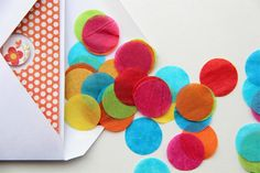 Happy Mail Bright Rainbow Confetti  Tissue by SweetHeritagePaper, $3.75