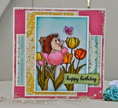 """High Hopes Stamps- """"It's Hedgy Time!"""" by Carolina using Hedgy in a Tulip from """"Spring is in the Air"""" Release High Hopes, Tulips, About Me Blog, Happy Birthday, Stamps, Frame, Cards, How To Make, Handmade"""