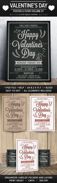 Happy Valentine's Day Poster / Flyer V01 #valentine promotion #nightclub flyer  • Download here → https://graphicriver.net/item/happy-valentines-day-poster-flyer-v01/21227507?ref=pxcr