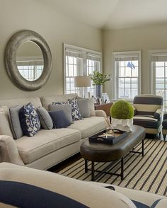 Coastal Living room. Classic coastal living room with navy striped fabric and rug. #CoastalInteriors #CoastalLivingroom Megan Gorelick Interiors