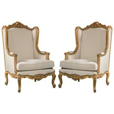 Pair of French Louis XV Style Wingback Bergere Chairs | From a unique collection of antique and modern wingback chairs at https://www.1stdibs.com/furniture/seating/wingback-chairs/