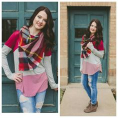 Can't go wrong with a colorblock top and blanket scarf! #newarrivals #plaid #blanketscarf #denim #jeans #boots #booties #style #ootd #ogden #northogden #utah #utahboutique #musthave #fashionista #shopbellame