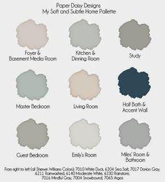 Soft and Subtle Color Palette. Interior Color Palette. #InteriorColorPalette  SW7010, SW6204, SW7017, SW6211, SW6140, SW6230, SW7016, SW7004, SW7065  Via Paper Daisy Designs.