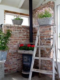 Love the exposed brick wall in the greenhouse Greenhouse Shed, Greenhouse Gardening, Pergola, Gazebo, Outside Living, Outdoor Living, Sunrooms And Decks, Party Shed, Stone Interior