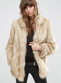Faux Fur Solid Color High Neck Coat