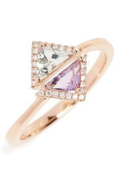 Free shipping and returns on Bony Levy Iris Double Triangle Diamond & Semiprecious Stone Ring (Nordstrom Exclusive) at Nordstrom.com. Trimmed with sparkling diamonds, green prasiolite and purple amethyst stones seem to hover in sculptural space in this stunning and delicate ring crafted from 18-karat gold.