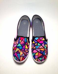 Stained Glass Slip-On Sneakers — kelseyland aztec doodle stainedglass geometric shapes diamonds pattern handpainted art shoes sneakers color tribal 712976184736796026 Painted Canvas Shoes, Custom Painted Shoes, Painted Sneakers, Hand Painted Shoes, Custom Shoes, Custom Vans, Sharpie Shoes, Diy Sharpie, Sharpies