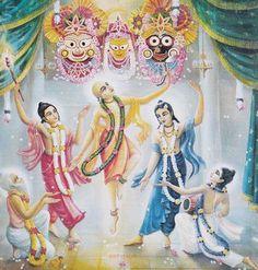 Panca tattva dancing before Jagannatha