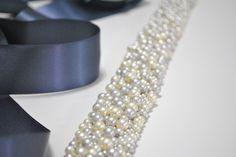 Wedding Belt: Pearl Bridal Sash - Cream, Silver, Grey. $110.00, via Etsy.