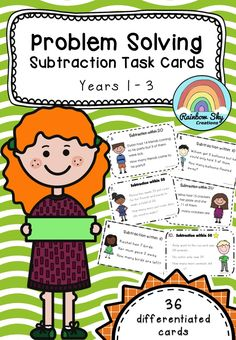 Problem Solving Subtraction Task cards - 36 cards in total. Including 3 sets of differentiated word problems. • Subtraction within 10 • Subtraction within 20 • Subtraction within 50 In each set there is a STAR on cards numbered 9 – 12. These are challenge cards. Included recording sheet and answer sheet. ~ Rainbow Sky Creations ~