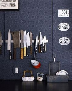 Use a Magnetic Rack to Store Knives | 52 Totally Feasible Ways To Organize Your Entire Home