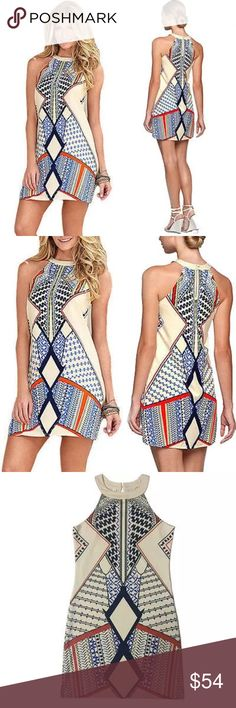 Coming Soon! Like to be Notified♥️Boho Mini Dress Like for notification if its arrival and for the grand opening of my boutique! Amazing deals for the first week! This sleeveless dress is gorgeous. Perfect for Summer and can easily go from day to night. It has an O neck with a small keyhole in the back. Only two dresses this round. One small and one medium. Dresses Mini