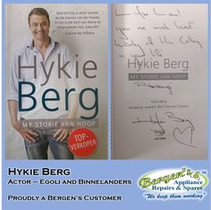 """Lucky Lana got a signed copy of Actor Hykie Berg's book """"My Storie van Hoop"""". He is well known for his acting in Egoli, Binnelanders and is also a winner in the series Survivor. Bergen, Appliance Repair, Group Of Companies, Home Automation, Solar Energy, Customer Service, Quotations, Hoop, My Books"""