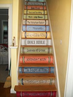 I want to rip the carpet off the stairs and do this! I still want to rub some stain on after the paint cures, but I was able to make my own Magic House stairs in the new cottage. Its a combo of latex, acrylics, and rub on vinyl fonts. Book Staircase, Magic House, House Stairs, Cottage Stairs, Attic Stairs, Painted Stairs, Wooden Stairs, Stair Risers, Good Night Moon