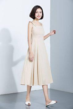 Pinafore DressBeige Linen DressSuspender DressOverall
