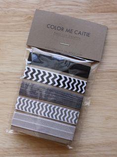 elastic hair ties -- black glitz palette / etsy