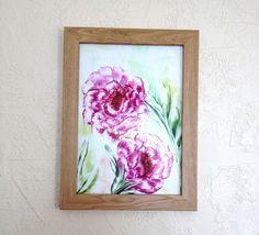 Pink Tree Peony Painting : Original Encaustic Art (sold unframed) £18.00
