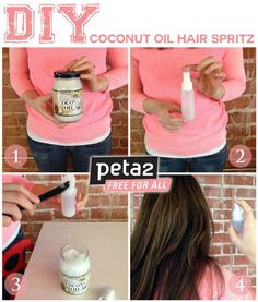 Hair Remedies My favorite DIY hair oil spritz will leave your hair super soft and repair damage. - My favorite DIY hair oil spritz will leave your hair super soft and repair damage. Coconut Oil Hair Spray, Coconut Oil Hair Treatment, Coconut Oil Hair Growth, Coconut Hair, Belleza Diy, Tips Belleza, Beauty Care, Beauty Hacks, Natural Hair