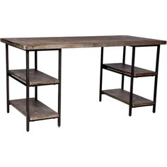 Incorporate an industrial, shabby chic vibe to your home with the Renate desk. This sturdy piece of furniture offers side shelving to help you organize your space and a large work area perfect for a l