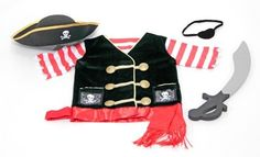 Melissa & Doug Pirate Costume Role Play Set Includes a pirate hat and eye patch Comes with a pirate vest that holds a sword Be ready for adventures on the high seas Dramatic role play outfit designed for fun Exceptional quality and value Dress Up Costumes, Boy Costumes, Pirate Costumes, Toys R Us, Kids Toys, Role Play Outfits, Pam Pam, Pirate Hats, Pirate Dress