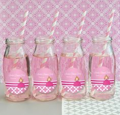 princess party personalized milk bottles from HotRef.com