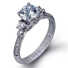 Shop online SIMON G LP2076 Three Stone 18K - White Gold Diamond Engagement Ring at Arthur's Jewelers. Free Shipping