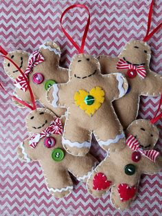 Felt Christmas Ornaments - Felt Gingerbread Ornament - Felt Ornaments - Felt Gingerbread Christmas Tree Ornaments - Christmas Tree Ornaments