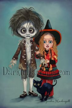 Hocus Pocus fan art featuring Billy, Dani, and Binx. Creepy cute art available in medium print and canvas. Halloween Snacks, Cool Halloween Costumes, Disney Halloween, Holidays Halloween, Halloween Crafts, Halloween Decorations, Halloween Stuff, Halloween Makeup, Halloween Movies To Watch