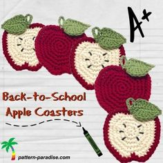 Crochet Tutorial Patterns Back to school Apple Coasters - Free Crochet pattern - Free crochet pattern for apple shaped goodie pocket or coaster, perfect for teacher gifts or Halloween goodies too. Crochet Apple, Crochet Fruit, Crochet Diy, Crochet Amigurumi, Crochet Food, Crochet Kitchen, Crochet Flowers, Thread Crochet, Crochet Coaster Pattern
