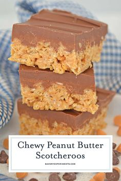 Classic Scotcheroos made with Rice Krispies peanut butter chocolate and butterscotch chips The ultimate no-bake bar dessert scotcheroorecipe Rice Crispy Bars, Chocolate Rice Krispies, Peanut Butter Rice Krispies, Peanut Butter Chocolate Bars, Peanut Butter Desserts, Rice Krispie Treats, Recipes Using Rice Krispies, Chocolate Fudge, No Bake Bars
