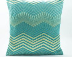 Tiffany Blue/Gold 20x20 pillow sham,Decorative throw pillow cover,Silk Pillow, Zig zag, Embellished geometric  pattern,Gold accent houswares