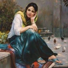 Mitra Shadfar This is extra ordinary beautiful art I can't describe Persian Girls, Iranian Art, Indian Art Paintings, Painted Ladies, Jolie Photo, Woman Painting, Islamic Art, Beautiful Paintings, Female Art