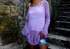 Lavender cotton Sweater Loose Knit Summer by HobiholikFashion