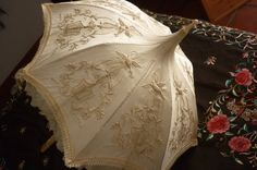 Reserved: Antique Parasol Silk Pagoda Style Stumpwork Embroidery with Dieppe Grapevine and Foliate Handle Fancy Umbrella, Vintage Umbrella, Under My Umbrella, Antique Fans, Umbrellas Parasols, Vintage Couture, Vintage Love, Victorian Fashion, Victorian Era