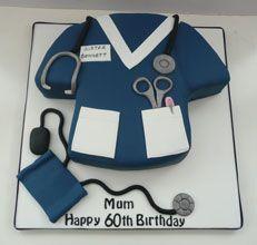 Birthday cakes by Fun Cakes Happy Birthday Mom Cake, Birthday Cakes For Men, Doctor Cake, Retirement Cakes, Cake Decorating Supplies, Girl Cakes, How To Make Cake, Amazing Cakes, Nurse Cakes
